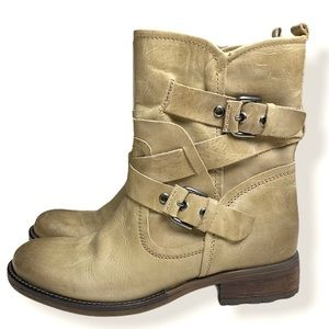 Guess Grier Beige Leather Boots Size 9